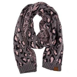🆕 Melange Grey Leopard Print Jacquard Knit Scarf